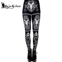 [Youre My Secret] 3D impreso Ouija Diablo, Satán Leggings Mujer para Fitness cuerno de cabra pantalones hexagrama elástico entrenamiento Legin