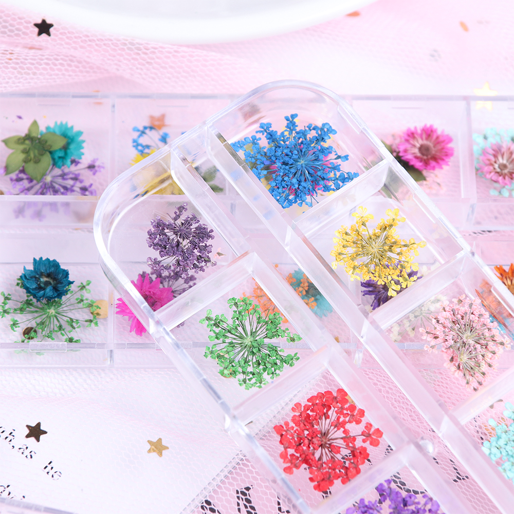 Mix Dried Flowers Nail Decorations Jewelry Natural Floral Leaf Stickers 3D Nail Art Designs Polish Manicure Accessories (2)