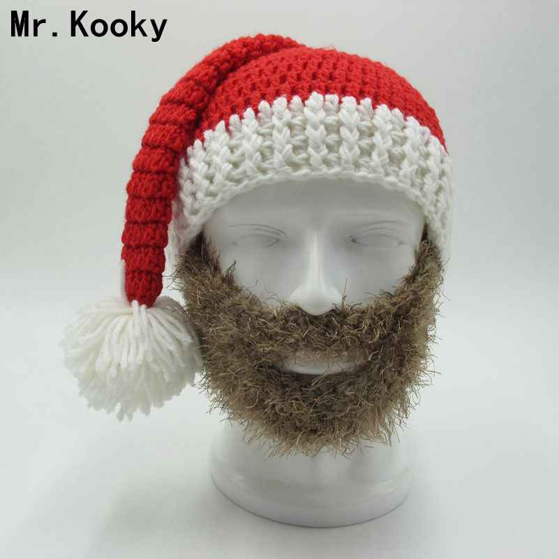 af185b9d183 Mr.Kooky Novelty Beard Santa Claus Beanies Men s Women s Funny Christmas  Hats Xmas Party Mask