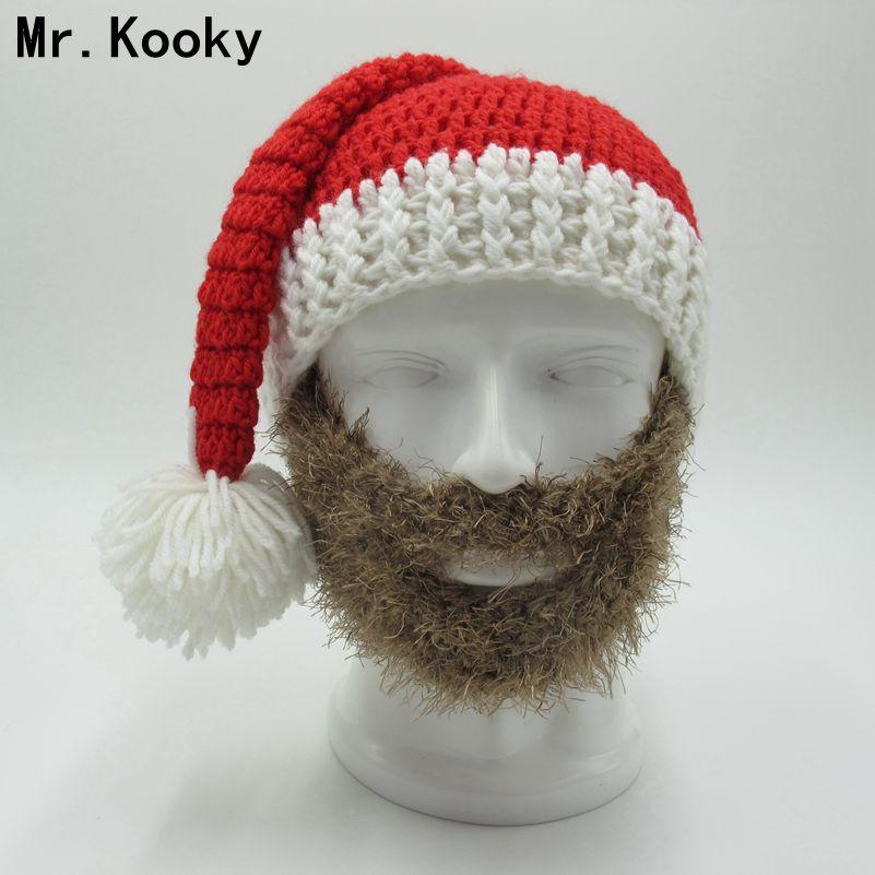 Mr.Kooky Novelty Beard Santa Claus Beanies Men's Women's Funny Christmas Hats Xmas Party Mask Handmade Winter Warm Gorros Gifts