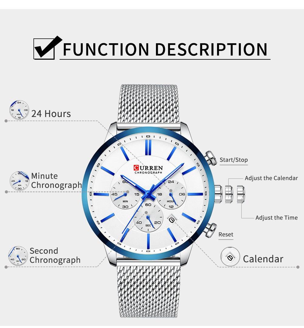 HTB18kSea2WG3KVjSZFgq6zTspXaG CURREN Watch Men Fashion Business Watches Men's Casual Waterproof Quartz Wristwatch Blue Steel Clock Relogio Masculino