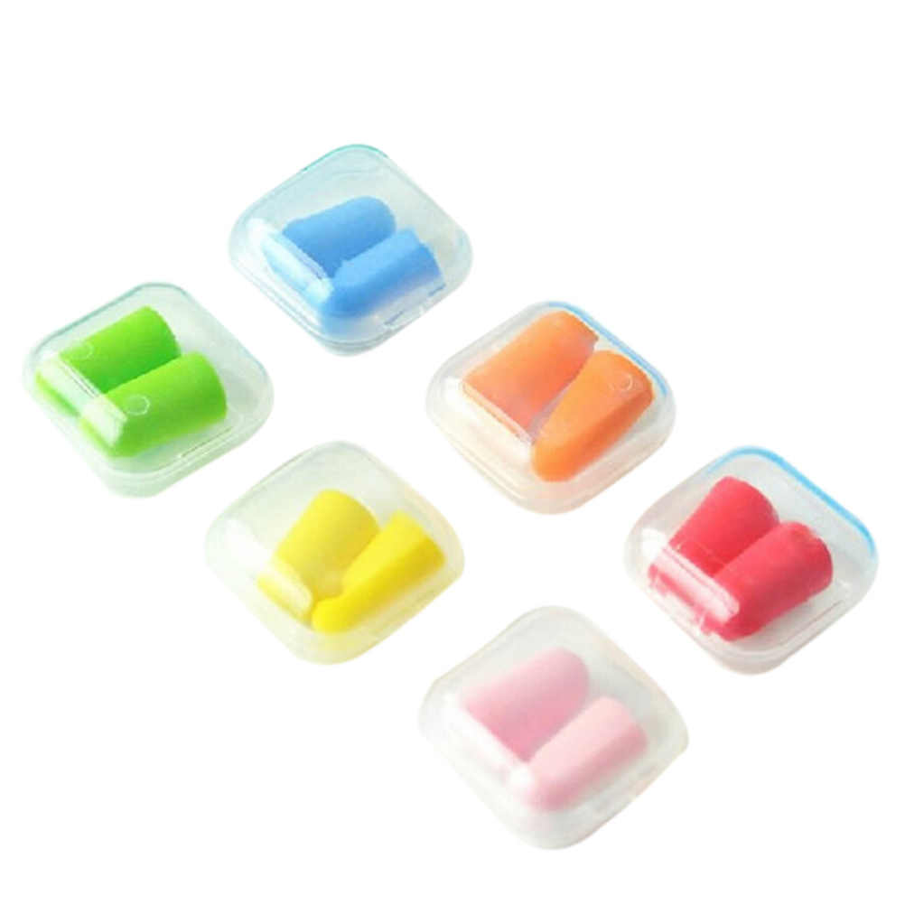 Карамельный цвет Пластик коробки уха Вилки ухо протектор Анти Шум исследование сна Помощник рабочих Earplug пены