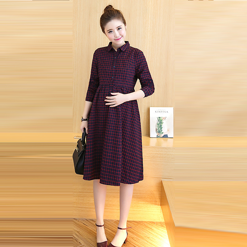 Long Plaid Maternity Dress Clothes Casual Pregnancy Wear Vestidos Clothing Korean Premama Party Dresses For Pregnant Women RED цена