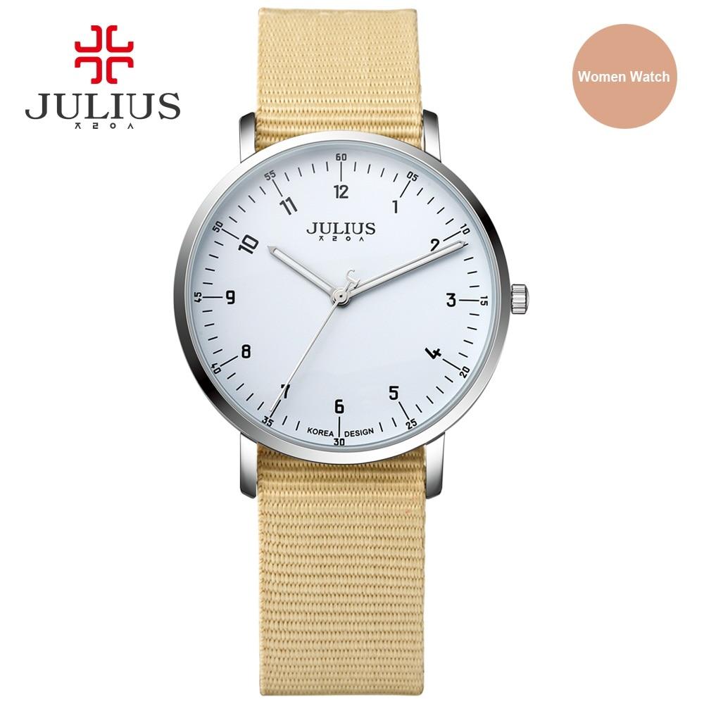 JULIUS Ultra Slim Clock Women Nylon Strap Waterproof Quartz Wrist Watch For Lady Casual Designer Wristwatch Montre Hour JA-914L