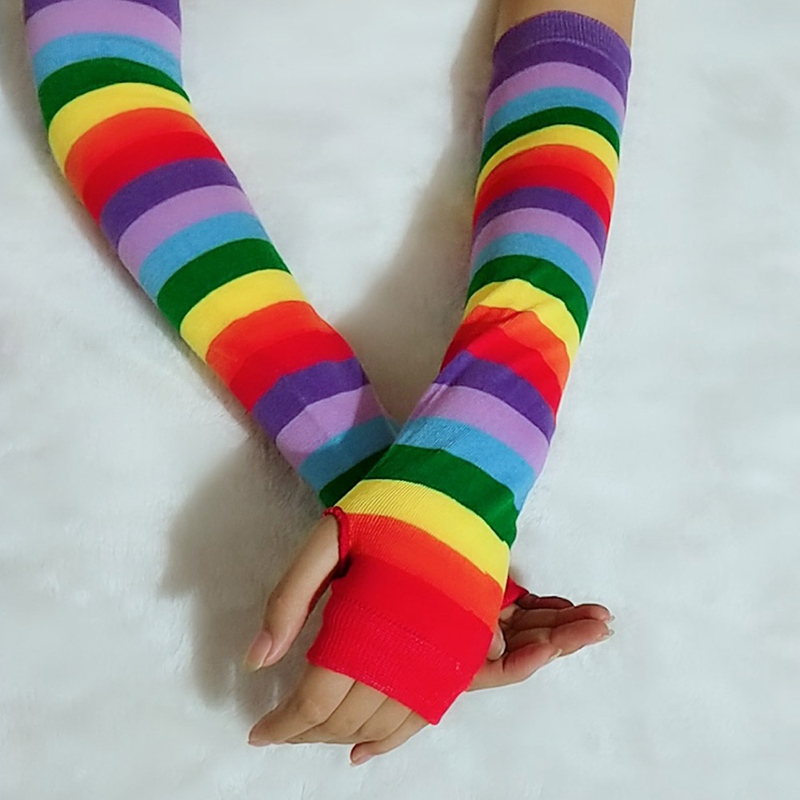 Outdoor Biker Weiche Lange Sleeve Finger Warm Arm Wärmer Handschuhe Regenbogen 1 Paar Damen-accessoires