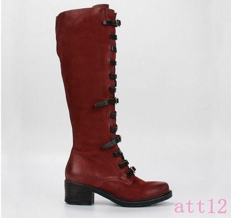 Knigh Bracelet Chic Mouton Boot D81 Genou Rétro Cuir Bloc En Femmes Haute Boucle Véritable 2HYIeW9ED
