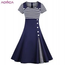 a80a394e3e81 Aovica 3XL 4XL Plus Size Women Pin Up Red White Striped Patchwork Dress  Retro Short Sleeve
