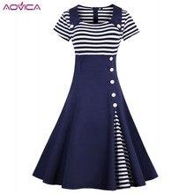 Patchwork Dress 1950s Botton Retro White Plus-Size Short-Sleeve Striped Women Aovica