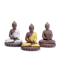 2019 High Quality Pure Handmade purple clay crafts creative Home decor Thailand Buddha Plating color Thai Buddha Figurines