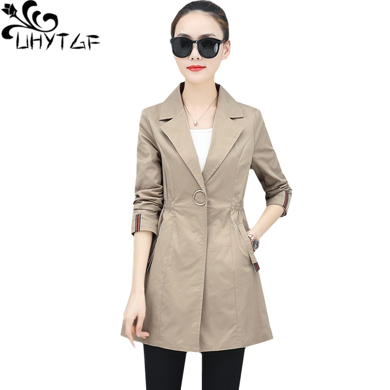 UHYTGF Casual women spring autumn top thin   trench   coat Slim woman long coats Solid color Wild elegant Female outerwear tide 1488