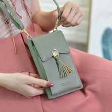 حقيبة بطاقات جلدية فاخرة PU مشبك معدني للنساء حقيبة يد محفظة حافظة هاتف مع سلسلة للآيفون 7 6 6S 8 Plus XS 11 XR XS MAX