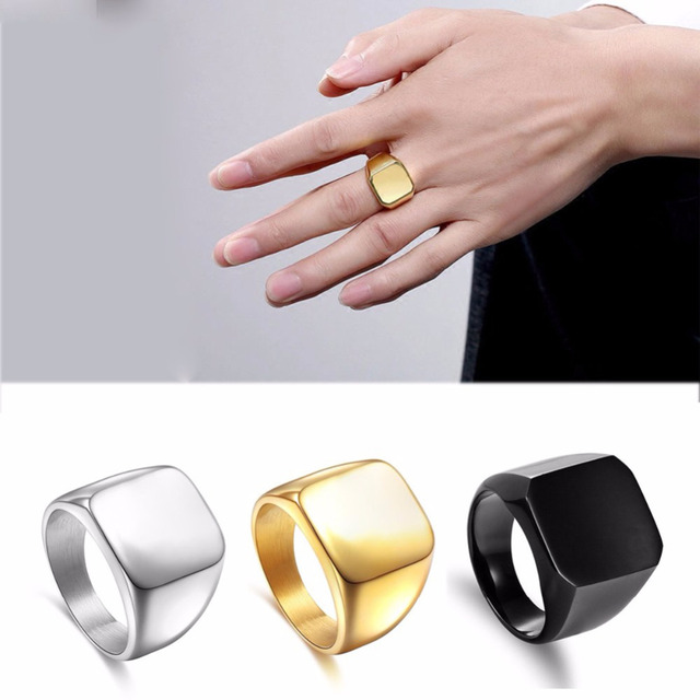 Smooth Square Signet Ring Silver Black Gold Color Stainless Steel Engagement Wedding Band Men Women
