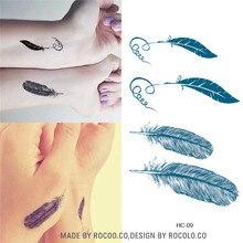 HC1009 Waterproof Temporary Tattoo Sticker Blue Feather Pattern Fake Tattoo Men Women Couple Body Art Tattoo Sticker