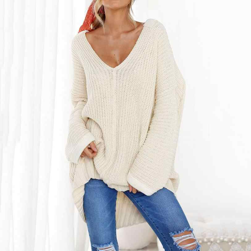 ... Womens Casual Long Sleeve V Neck Jumper Sweaters Solid white Wool Pullovers  Winter sweater coat AU0815 ... 4fadbf93c096