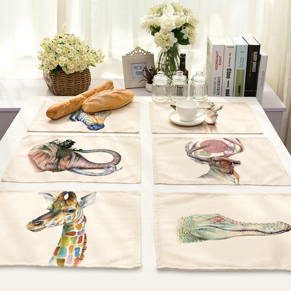 42x32cm animal world Printed Table Napkins for Wedding Party India Hippie Table Napkin Cloth Western Dinner Mat Home Textile