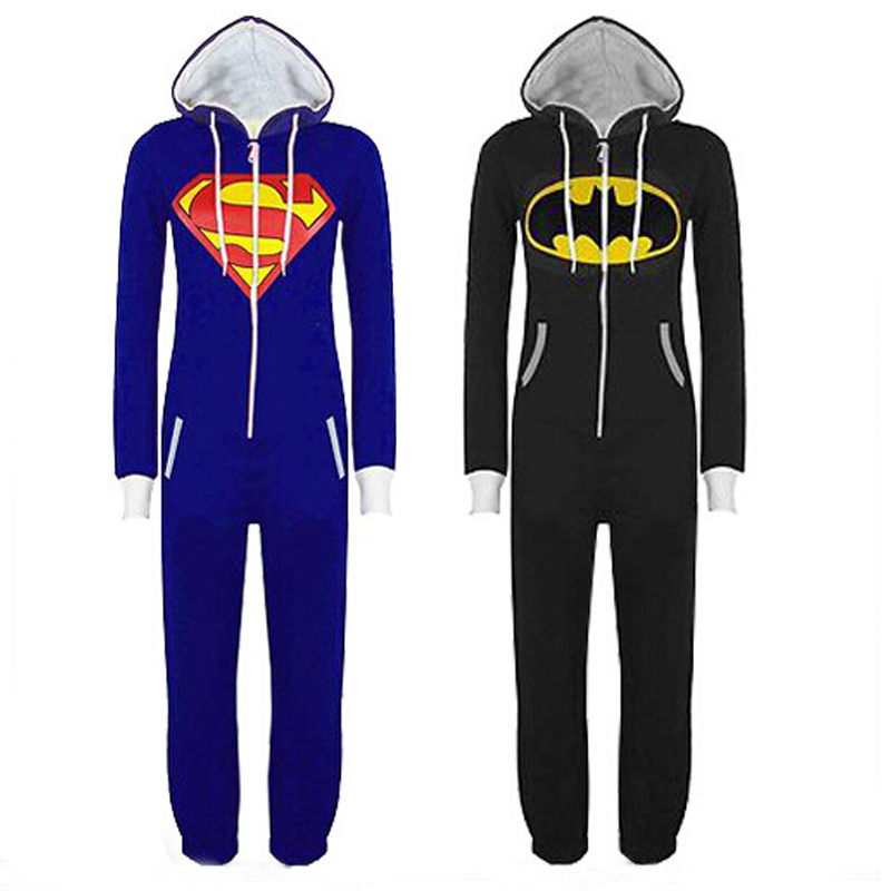 Halloween Party Cosplay Costumes Unisex Pyjamas Adult Pajamas Onesie Men Women Batman Superman One Piece Sleepsuit Sleepwear