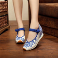 Boho New Chinese style Embroidery shoes Tourism embroidered Floral girl single soft walking sport dance shoes size 34-40