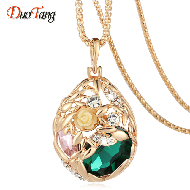 DuoTang Brand Gold Color Popcorn Chain Pendant Necklaces Green Champange  Crystal Fashion Jewelry Women Gift Flower Necklace d199ef9cbee9