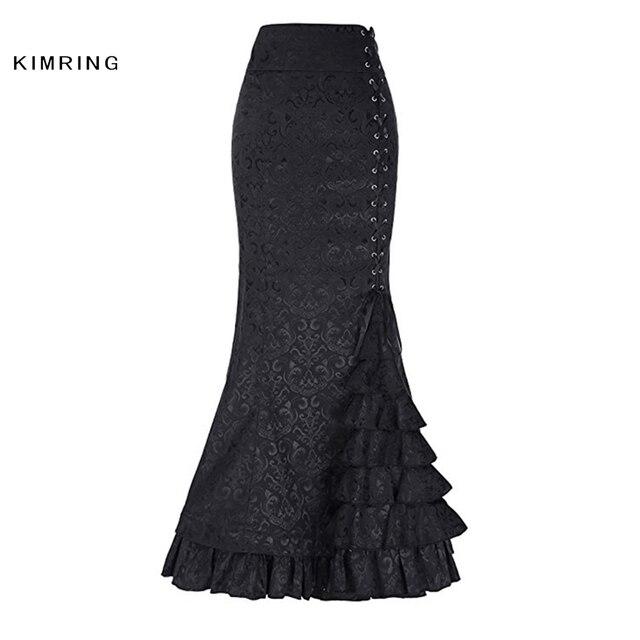 1a935f21ac Kimring mujeres falda gótica negra Vintage victoriana alta cintura faldas  largas Sexy estilo Punk sirena ajustado