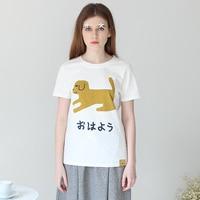 2016 Summer New Women Furniture Series TAKA Sen Female Line Round Neck White Printing Puppies Short