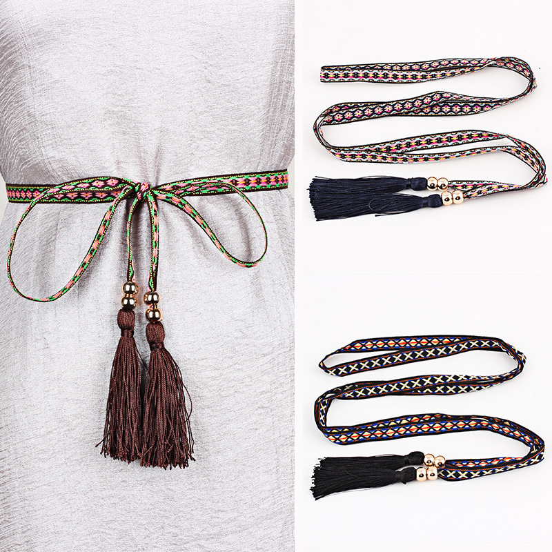 Folk style women wide waist belt braided tassels long Belt Geometric ribbed Embroidery All-Match Waistband dress decoras 170cm