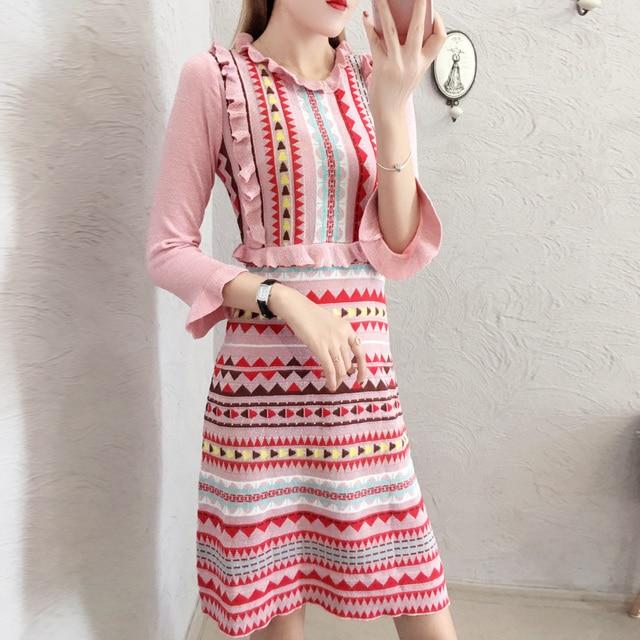 7567ddd2156 Runway 2019 Autumn Sweet Pink Rainbow Striped Bright Silk Knitting Dress  Women Long Sleeve Ruffes Peter Shine Sweater Dress-in Dresses from Women s  Clothing ...