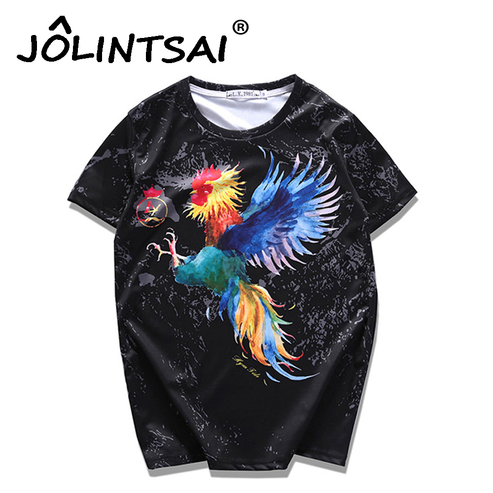 2017 Fashion Colorful Cock Printed Man T-Shirt Cotton Funny T Shirts Men Short Sleeve Mens Tshirts Male Tops Tees 6XL 7XL 8XL