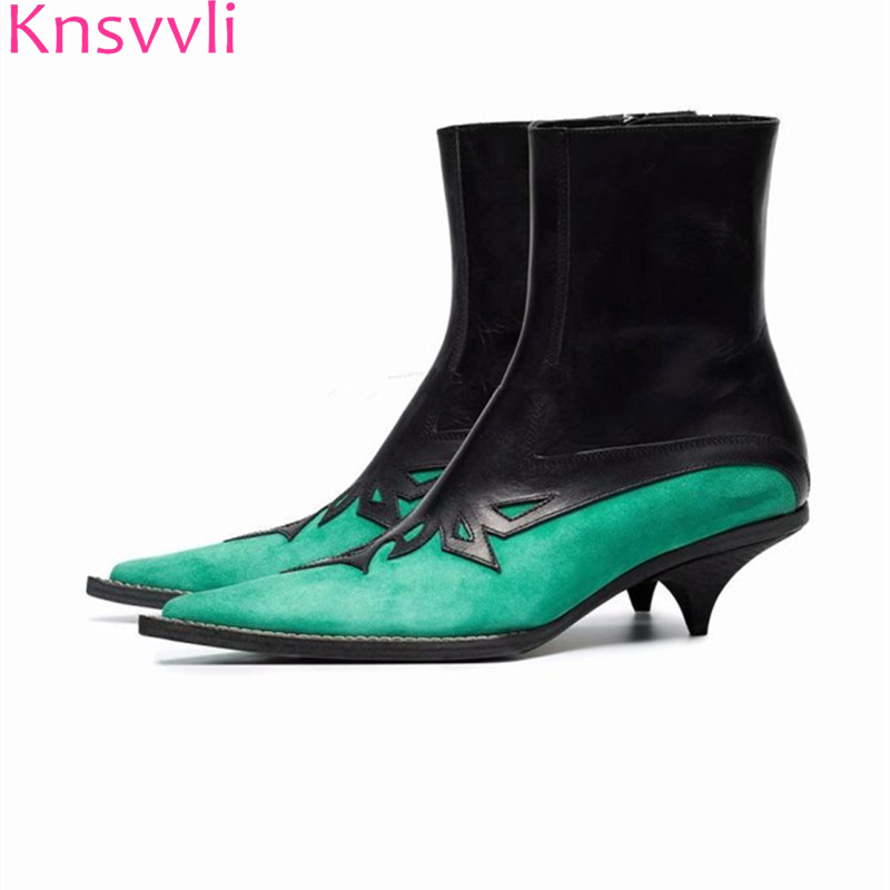 Knsvvli Pointy Toe Kitten heel martin boots Woman New Mixed Color Short Boots Ladies Kid Suede Carving flower Ankle Boots Women marulong s0002 women s fashionable flower pattern short sleeved nightdress green multi color