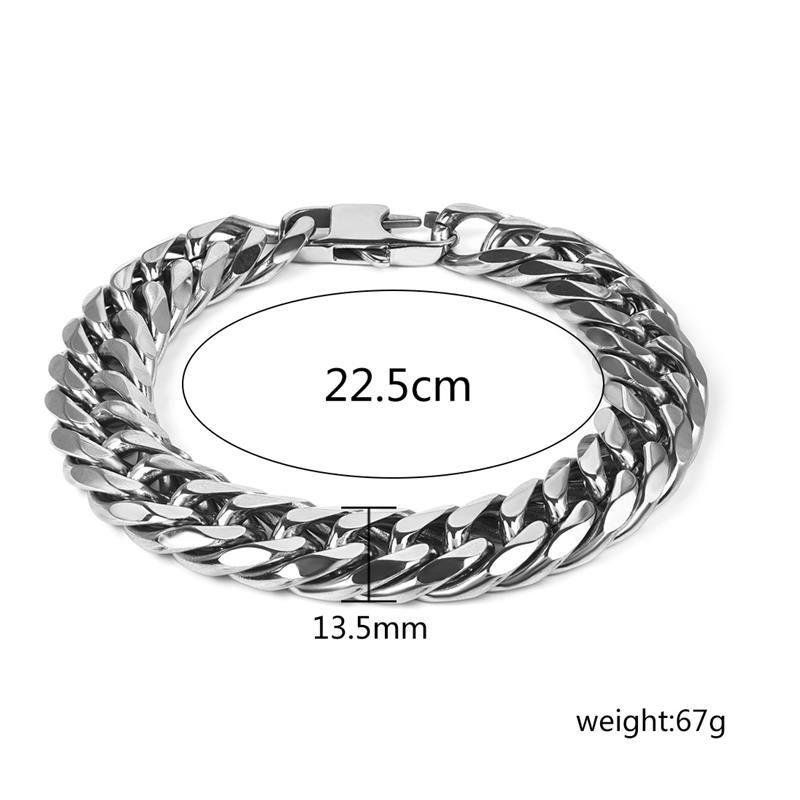 Black Leather Silver Clasp Bracelet Top Quality Jewellery For Men A443
