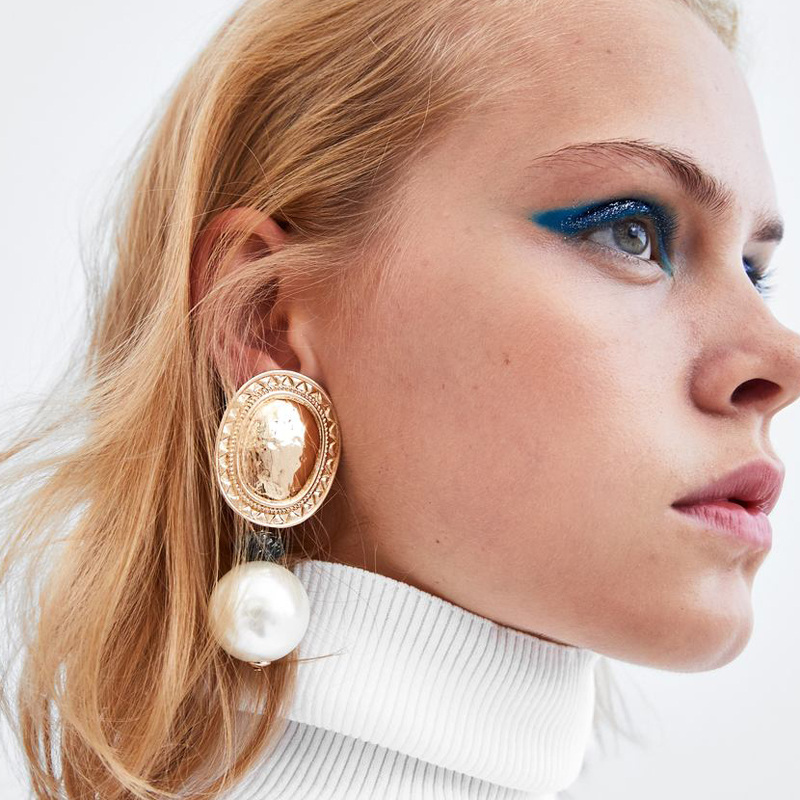 Best lady 2018 ZA Statement Golden Round Simulated-Pearl Earrings For W