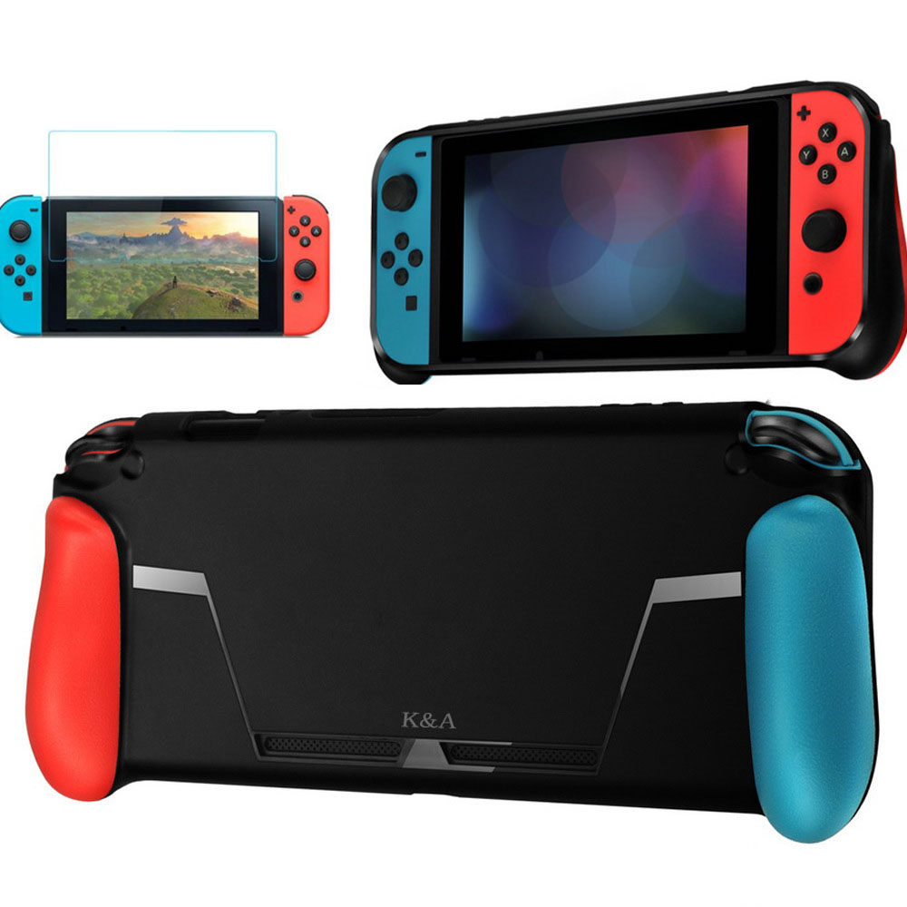 For Nintend Switch NS NX Console Joy-con Protective Set TPU Case Shell Handle Grips Hand hold with Game Card Slot Tempered Film