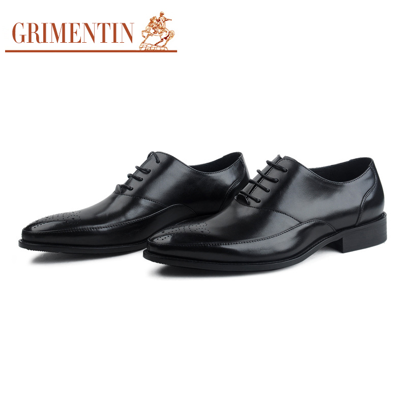 GRIMENTIN Men Leather Shoes 100% Genuine Leather British Style Mens Oxfords Classic Pointed Toe Dress Shoes fs british style 100