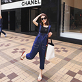 Maternity Fashion Denim Jumpsuit Blue with Pockets Pregnancy Jean Trend