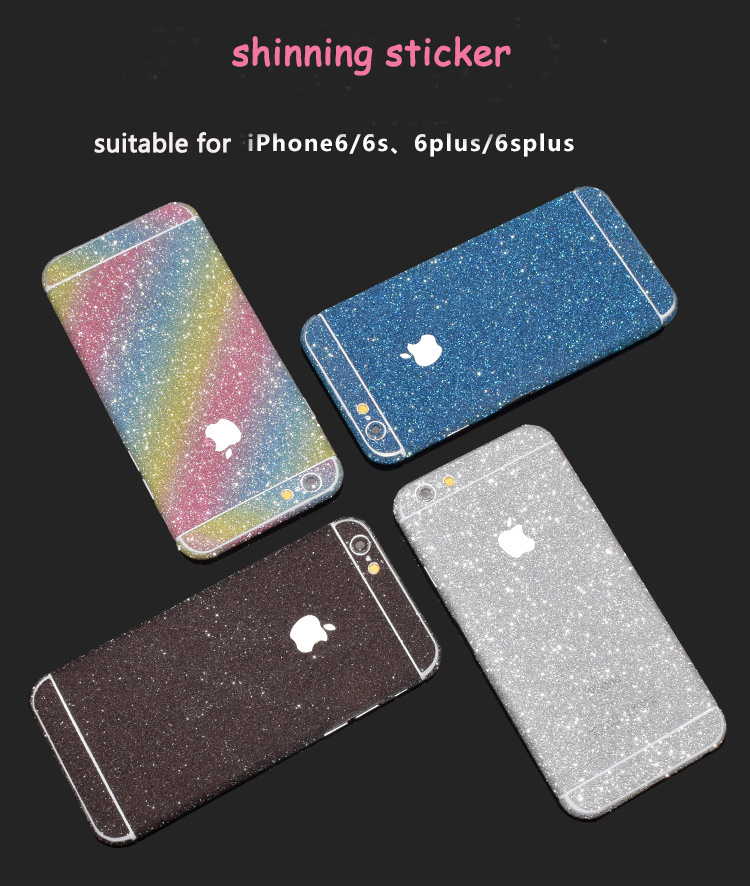 200pcs Glitter Bling Mobile Phone Sticker For IPhone 7 7s Twinkling Colorful Protective Film Full Body Phone DIY Accessories
