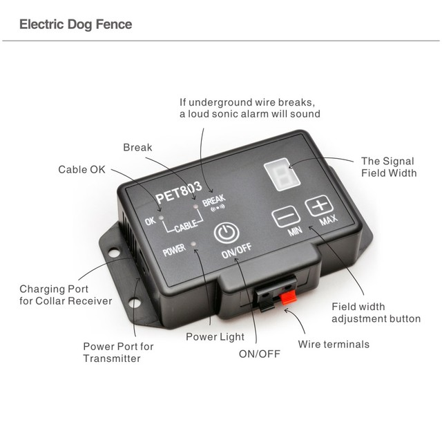 PET803 dog shock collar waterproof electronic pet fence safety dog collar electric 200m wireless invisible fence system