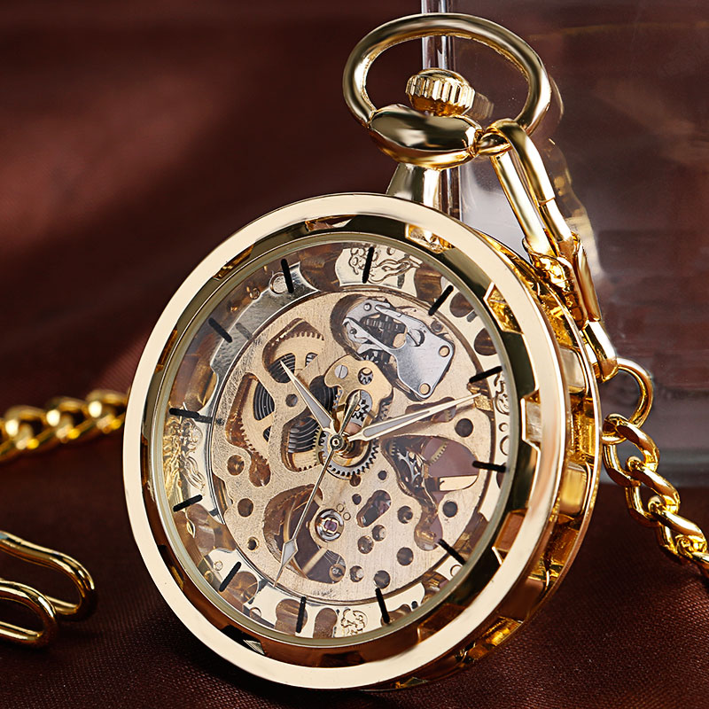 2017 New Arrival Luxury Gold Transparent Skeleton Hand Wind Mechanical Pocket Watch With Chain For Men Women Birthday Gift vintage transparent skeleton open face mechanical pocket watch men women fashion silver hand wind watch chain pendant gift