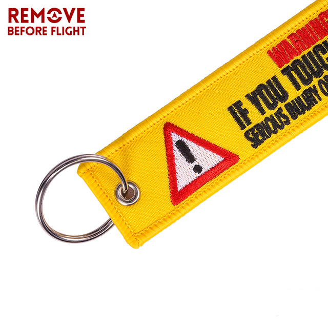 Wholesale Remove Before Flight Keychain Key Ring Embroidery auto Key Chains for Motorcycle ATV Car Key Tag Yelloew Danger Key