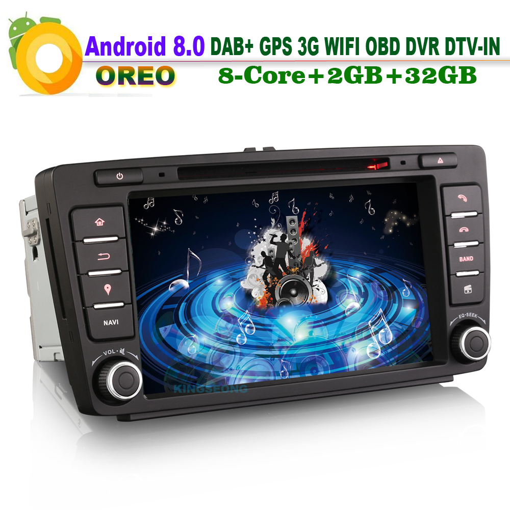 Octa Core DAB+ 8″Android 8.0 Head Unit GPS DVD SD Navi Wifi MP3 Player Radio DTV-IN Car CD player for Skoda Octavia 2009-2012
