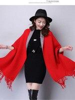 Korean Latest Style Spring Women Coat Scarf Fringed Shawl Type Double Knitting Cardigan Coat Leisure Loose