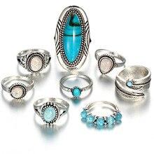 Juego de anillos de ópalo de Piedra geométrica Vintage de 17KM para mujer, joyería de moda con escudo para nudillo de Color plateado antiguo bohemio