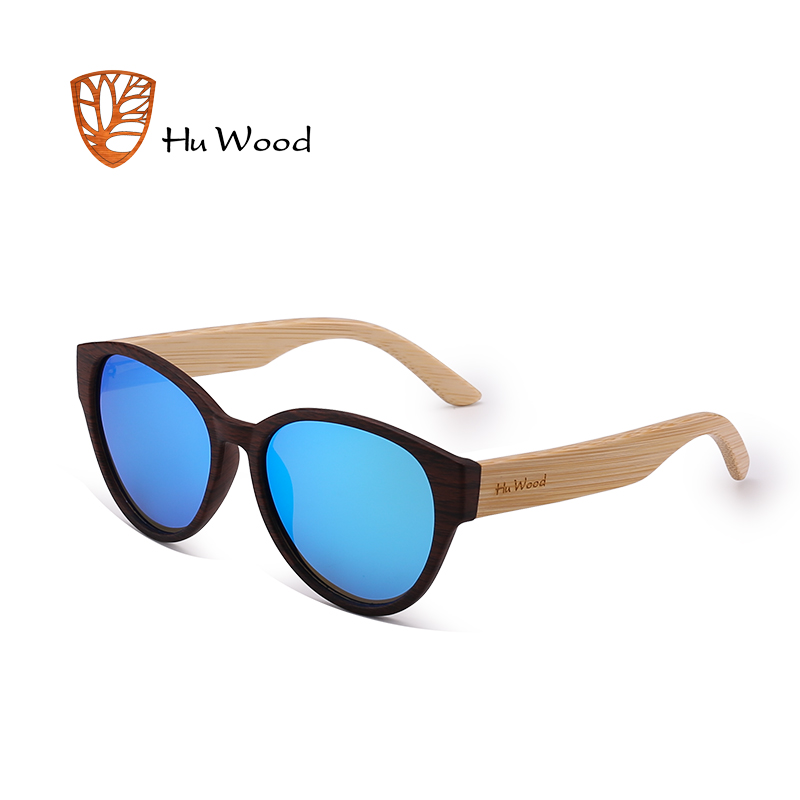 HU WOOD Brand Sunglasses Women Men Bamboo Frame Sun Glasses Round Printed Wrap Anti-Reflective Fishing Driving Eyewear GR8022 ...