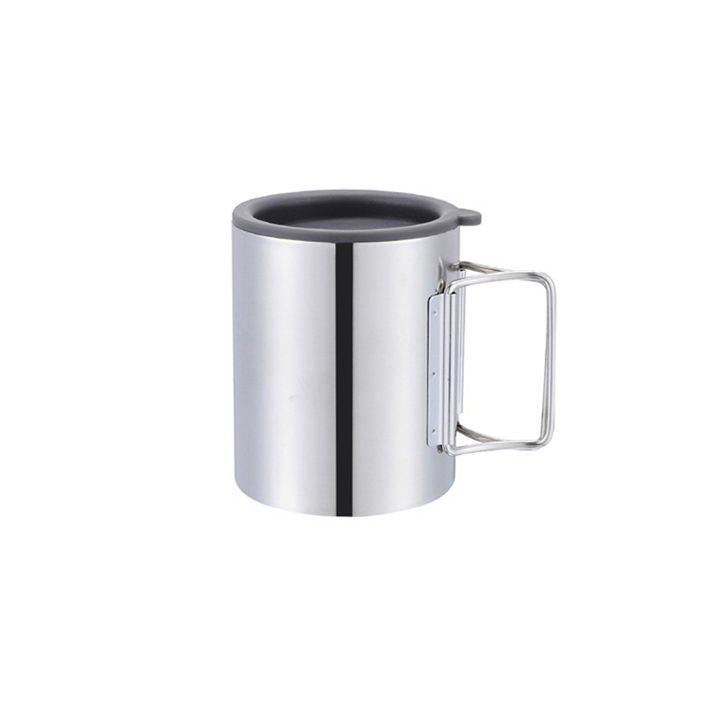 300ml Double Layer Stainless Steel Thermal Foldable Outdoor Camping Travel Coffee Water Cups Surface Polishing In Saucers From Home Garden On