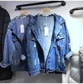 Doudoune Femme Женщины Базовая Свободные Джинсы Пальто Синий Джинсовая Куртка 2017 Мода Весна Harajuku Корейский Парень Женская Куртка