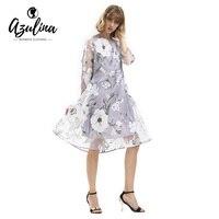 AZULINA Floral Print Women Casual Dress 2017 Summer O Neck Elegant Vintage Retro Vestido Robe Femme