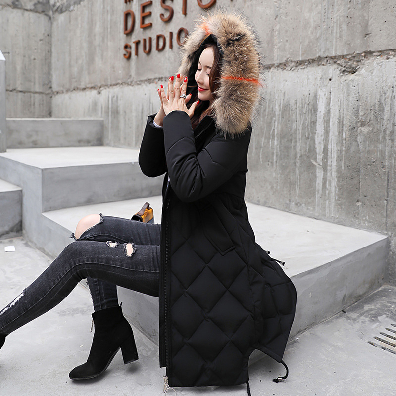 Solide bleu Veste Pour 2018 Hiver Col army Noir Long Fourrure Fermeture blanc Femmes Couleur De gris M Épais Capuchon Nouvelle Vêtements Green Coton À Grand rouge En Éclair Manteau camel coréen 3xl gU4wIw
