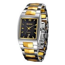 Роскошные мужские наручные часы Вольфрам стали Кварцевые часы площадь Золото Черный мужской деловой Календари водонепроницаемый Оригинал часы наручные