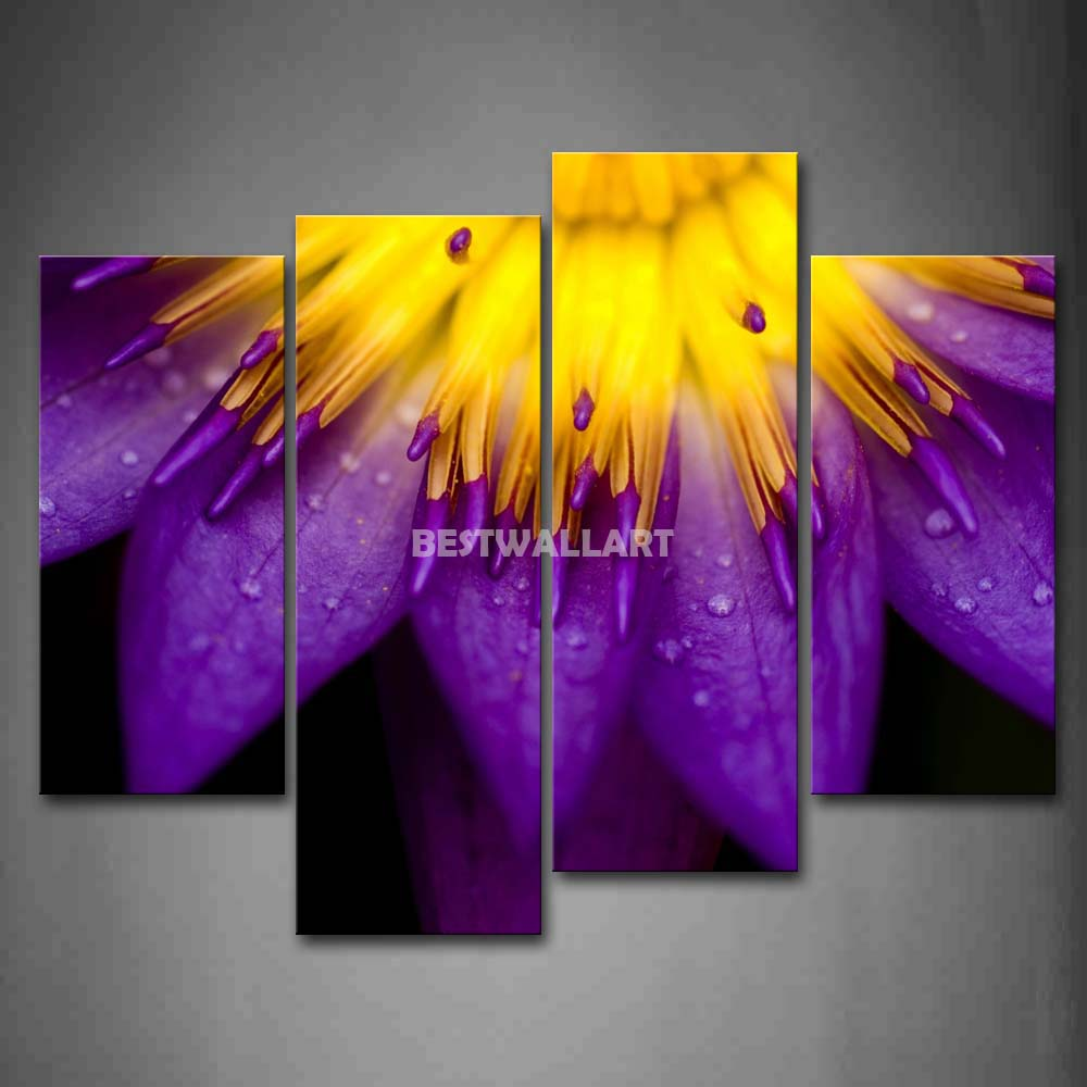 Purple Flower With Yellow Anther 4 Piece Painting On Canvas Wall Art