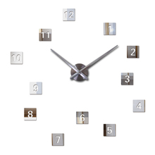 real rushed Diy acrylic mirror wall clock quartz watch still life large clocks needle modern living room home decor stickers