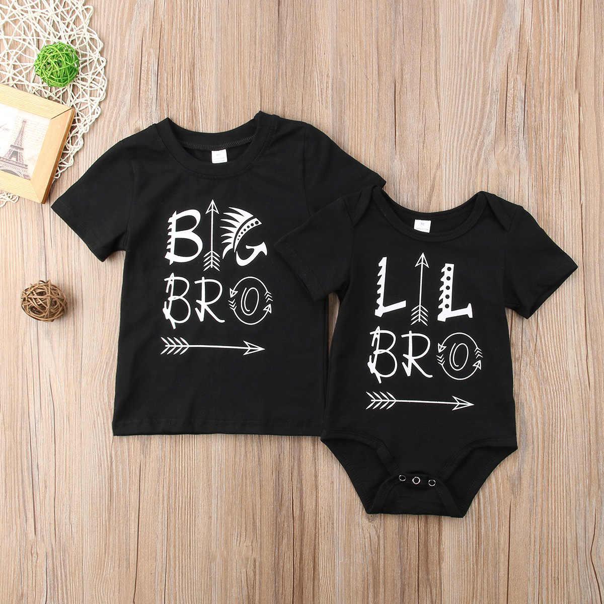 2018 г. Костюм для новорожденных и маленьких детей одинаковый костюм футболка с Большим Братом боди с изображением маленького брата черные летние топы, повседневная одежда