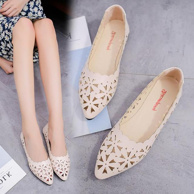 Shallow Flat Heel Hollow Out Flower Shape Nude Shoes  3